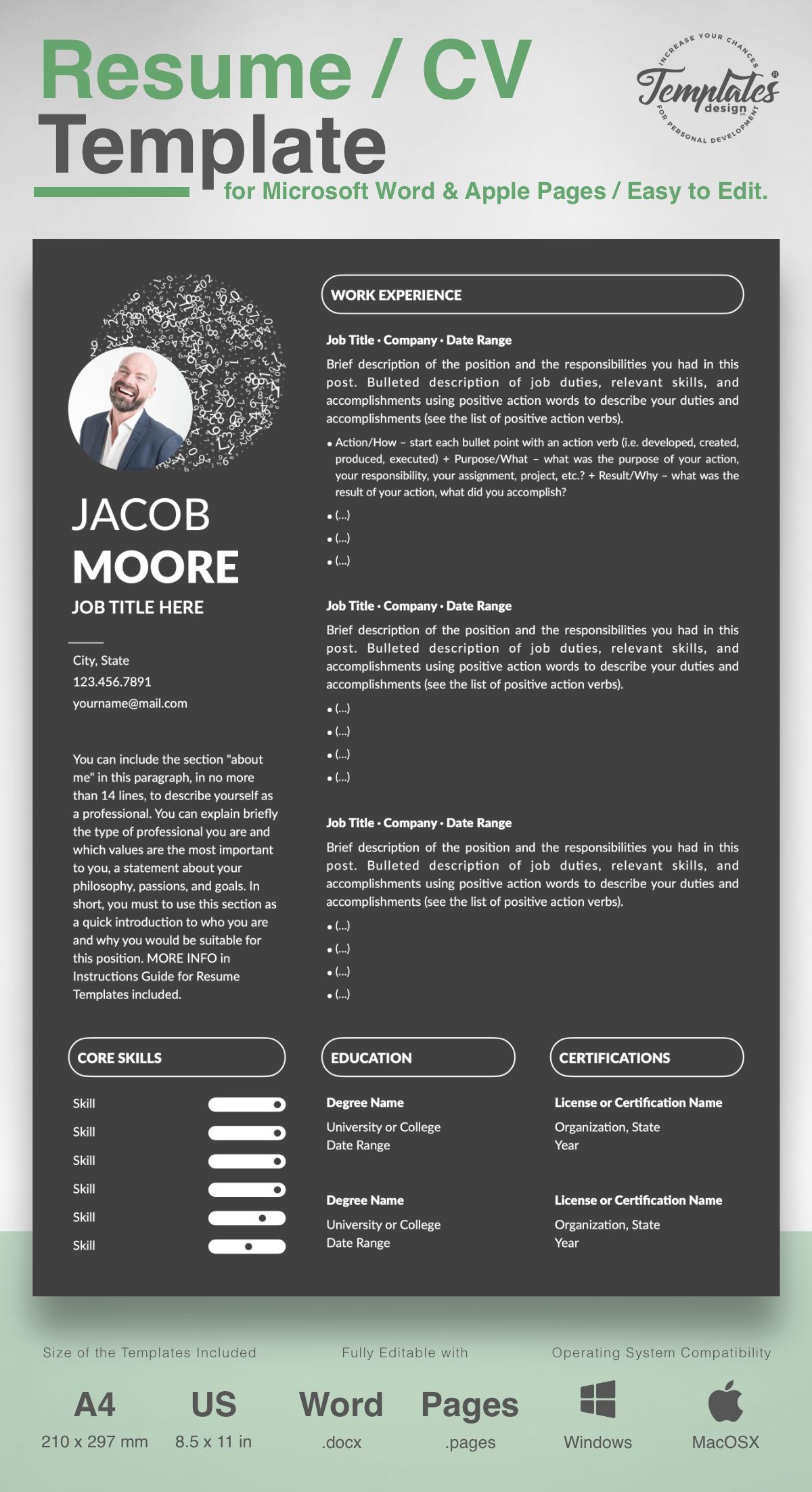 Professionelle Lebenslauf Vorlage Fur Microsoft Word Und Apple Pages Resume Templates Resume Downloadable Resume Template