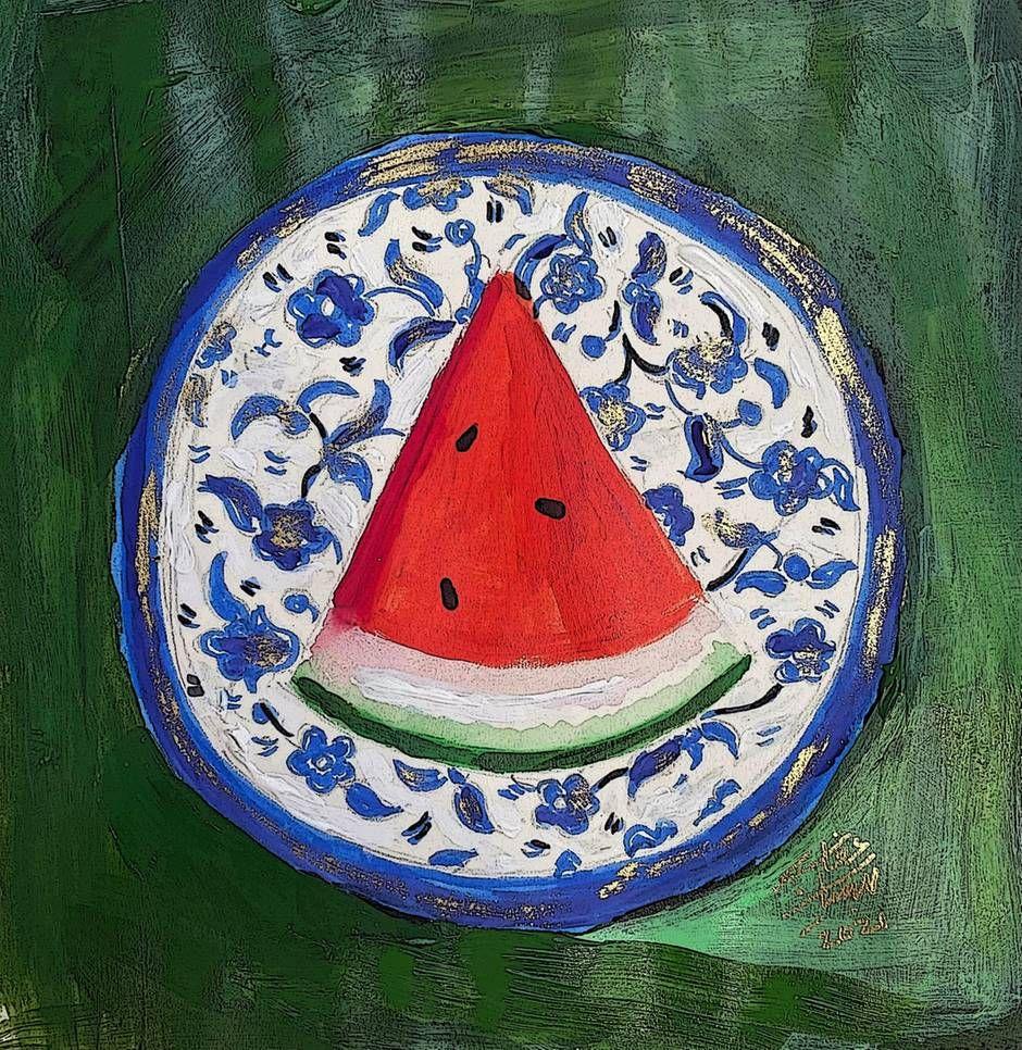 Beesan Arafat (@beesanarafat on Instagram), a Palestinian-Jordanian artist in England, depicts a slice of watermelon on a Hebron plate. Courtesy the artist