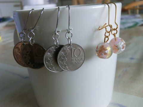 Old coins into earrings