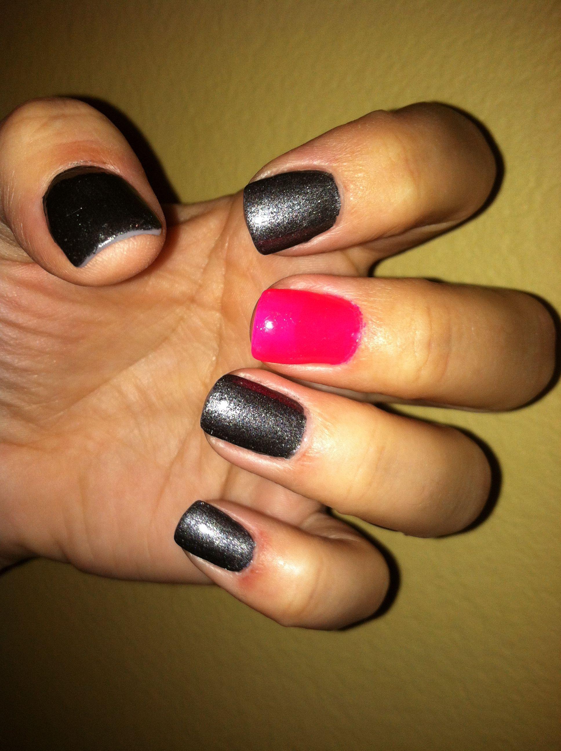 Dark grey matte OPI nail polish with pink. Love OPI | Nail Art ...
