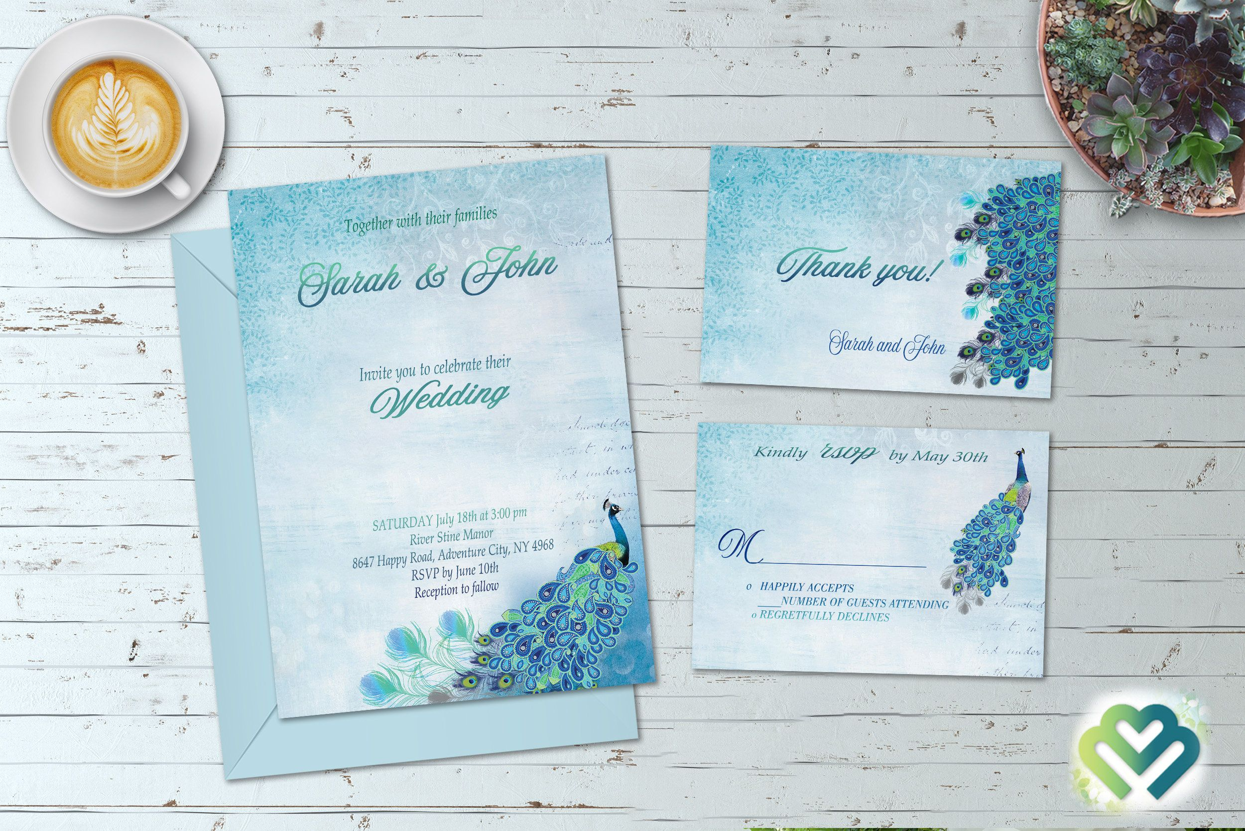 Peacock Wedding Invitation Set Blue Invite Green Suite Printable Invitations Digital Art DIY