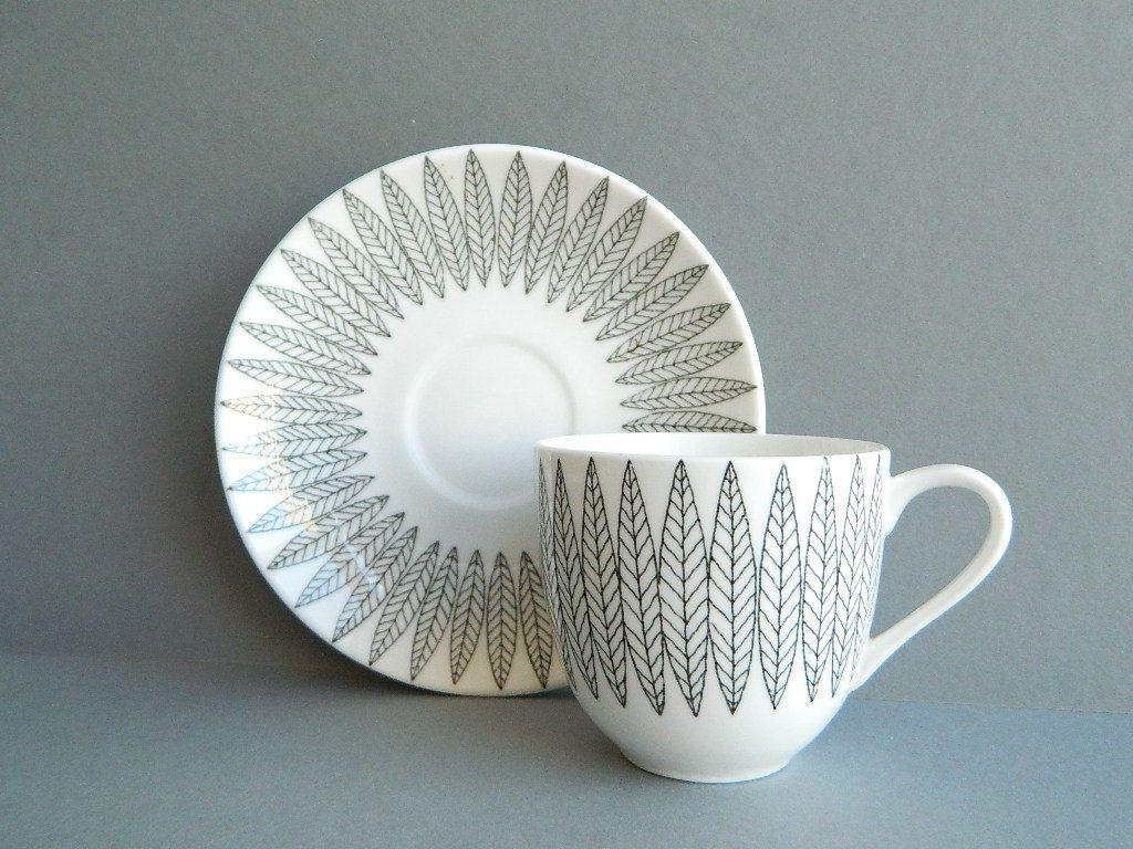 Gustavsberg Salix Benporslin Sweden Tea  coffee cup and Saucer. $48