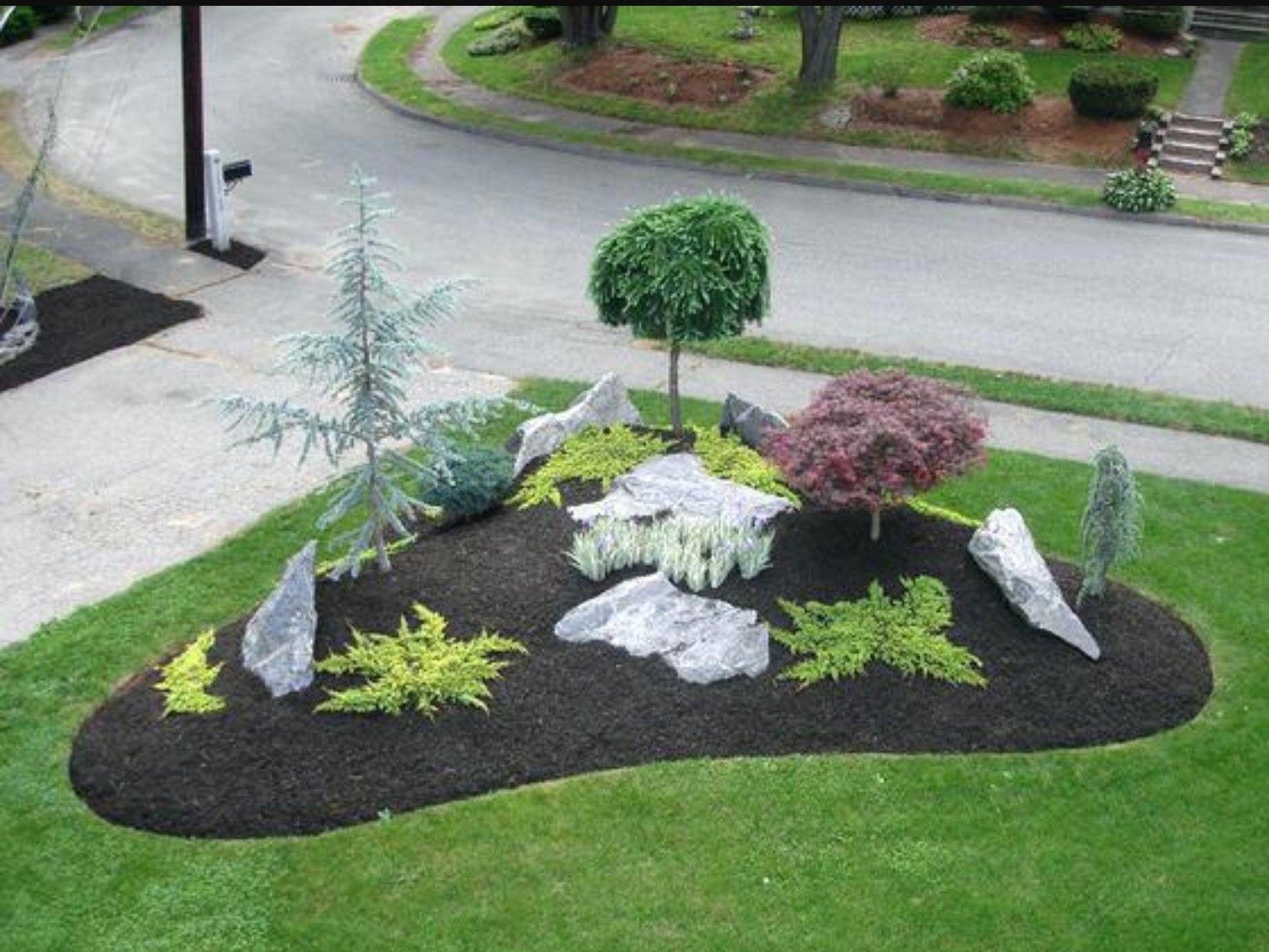 triangular bed g small front yard landscaping rock on beautiful front yard rock n flowers garden landscaping ideas how to create it id=69547