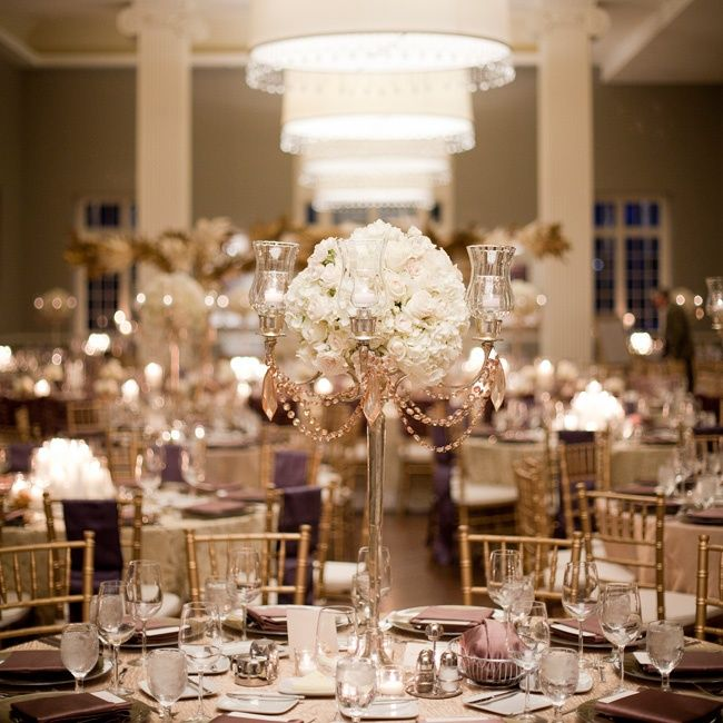 Gold candelabra ivory rose centerpieces photo olive