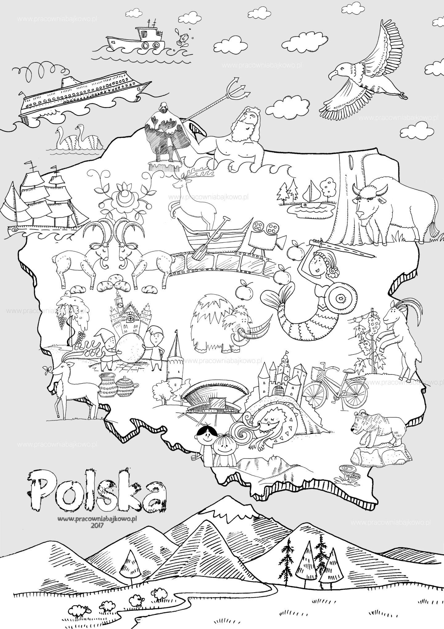 Mapa Polski 2017 A4 Niepodległość Teaching Kids Preschool I