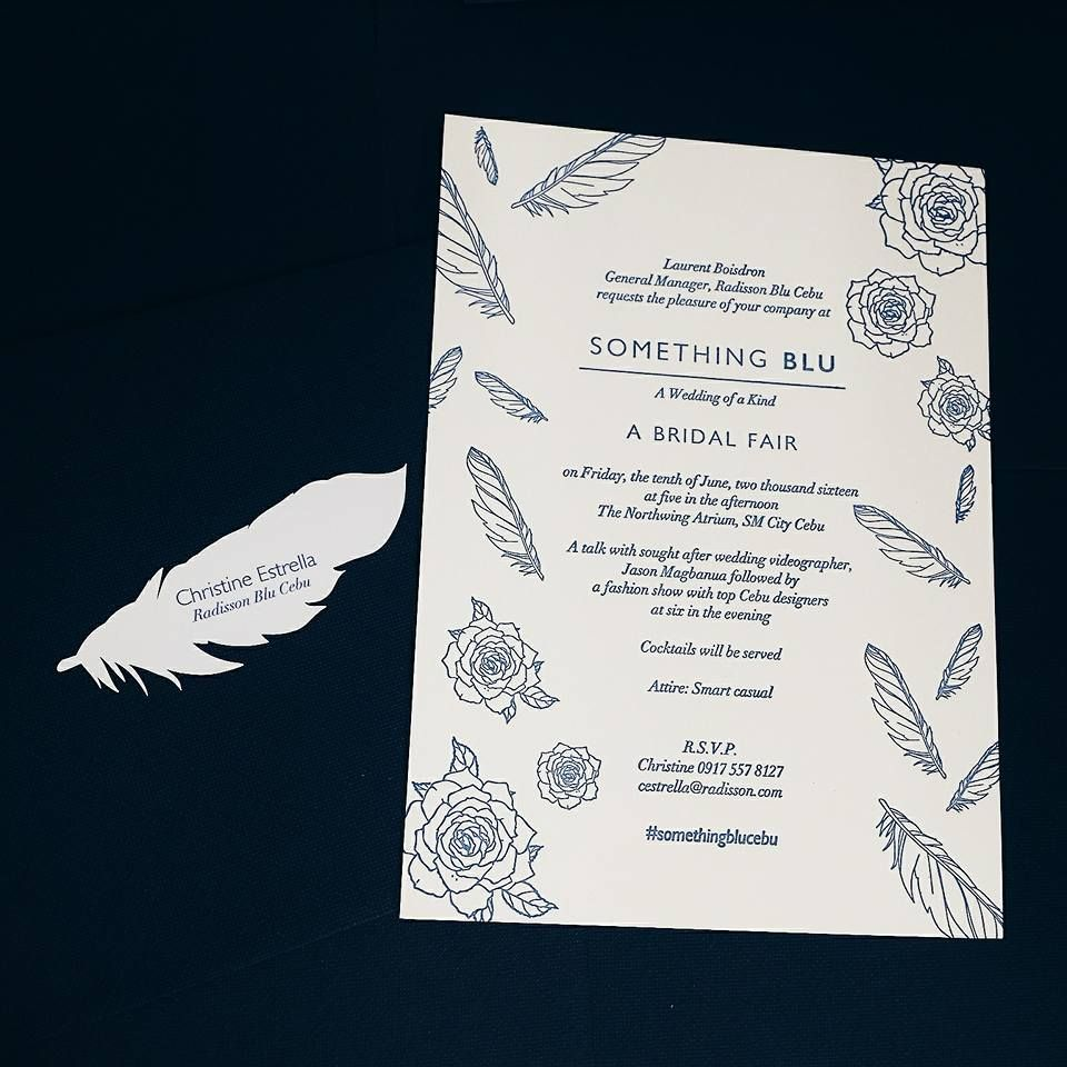 Admiring this beautiful invitation card made with love for #SomethingBluCebu specially crafted by CDI Designs and the dainty feather sticker made by CRAF Graphic Designs 💕 — with Craf Graphic Designs, Corinne Cases, CRAF Graphic Designs and CDI Designs.