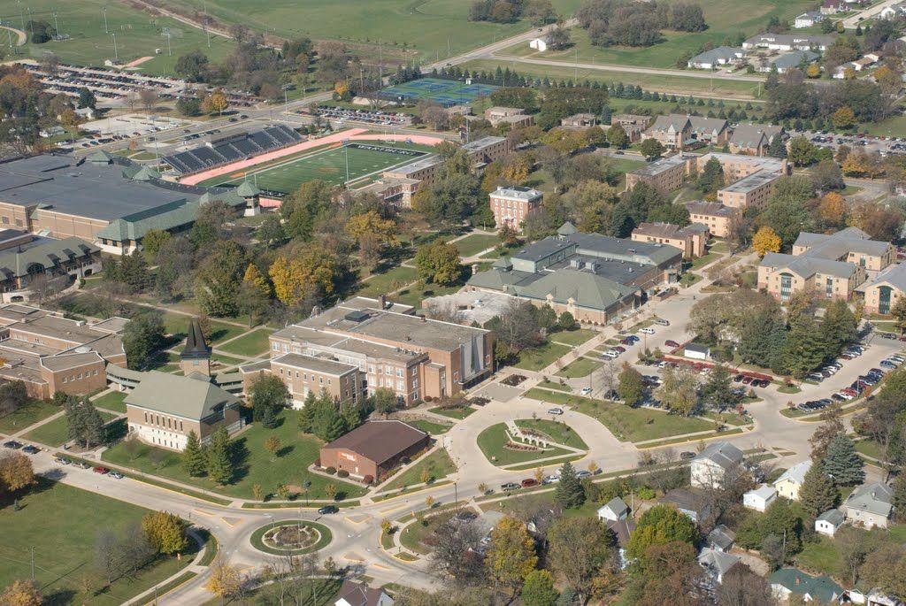 Wartburg College Campus Map.Aerial Of Wartburg Campus In And Around Waverly Iowa College