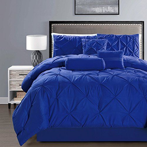 7 Pieces Double Needle Stitching Pinch Pleat Solid Royal Twin Size Bedding Bed Duvet Cover Sets