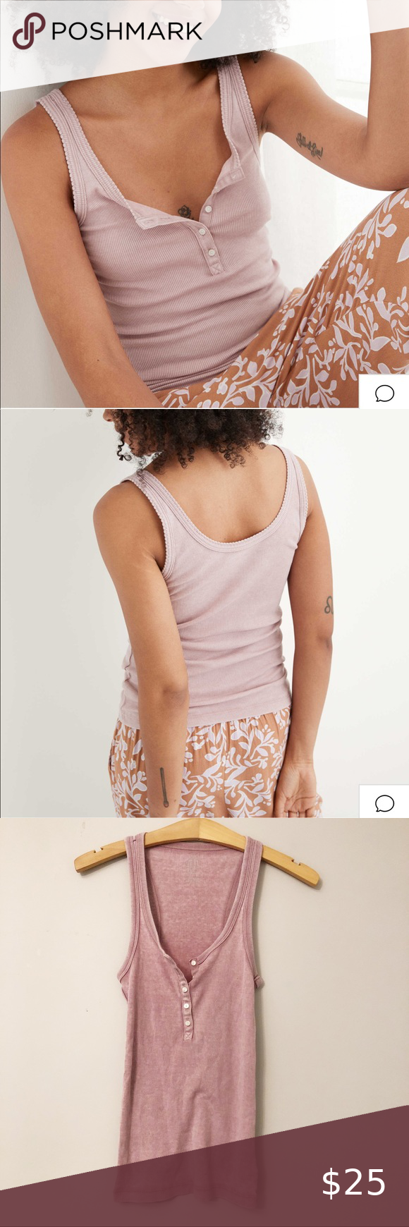 Aerie Real Soft Pink Henley Tank