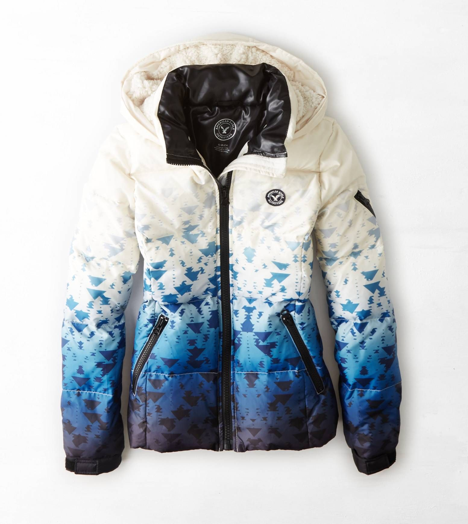 White Aeo Get Down Hooded Puffer Jacket Jackets Jackets For Women Puffer Jackets [ 1739 x 1553 Pixel ]