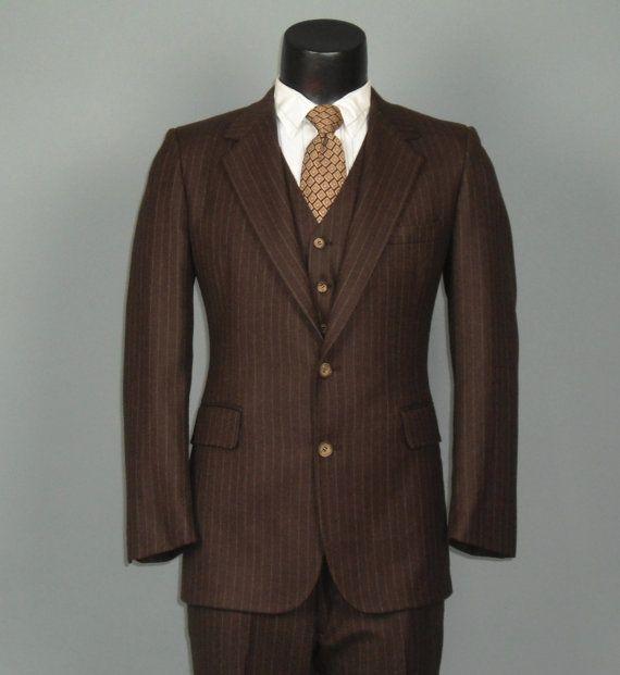 Three Piece Vintage Geoffrey Beene Brown Suit Mens IVYrrZ