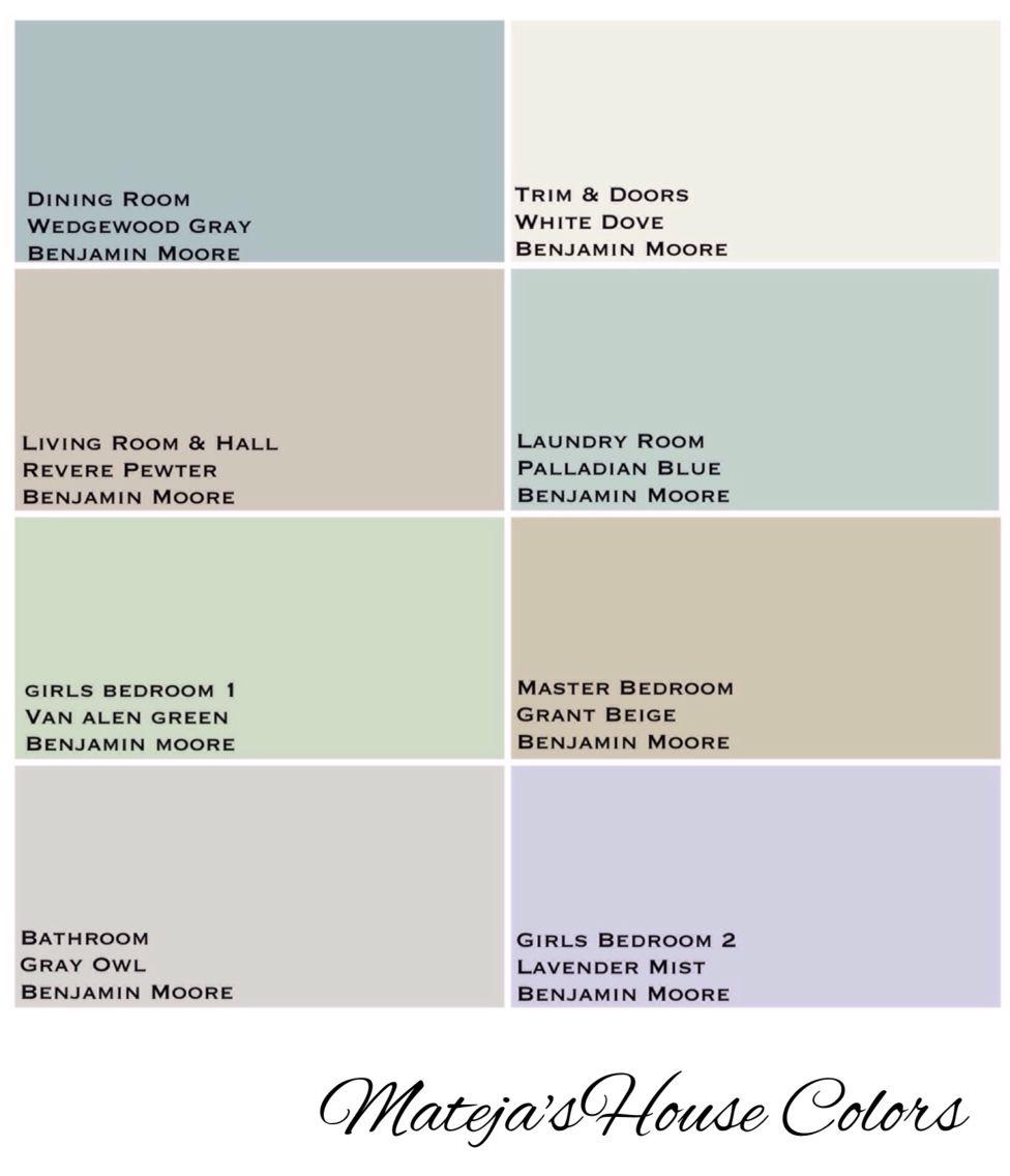 House Colors Benjamin Moore Revere Pewter White Dove Lavender Mist Grant