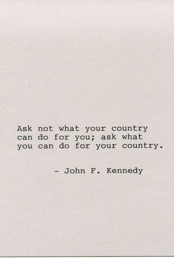 John F Kennedy Quote Made On Typewriter By Flightoffancyprints