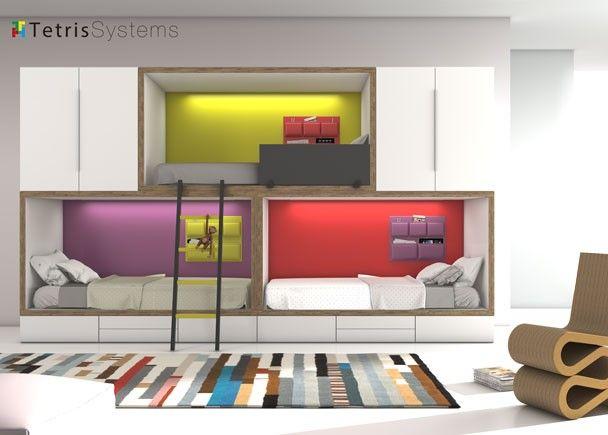 Litera tren 3 camas armarios y cajones inferiores - Habitaciones infantiles tren ...