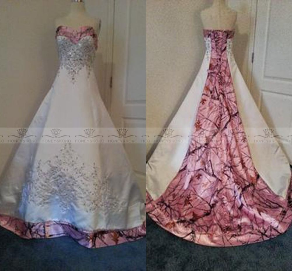 Pink and white camo wedding dresses for bride