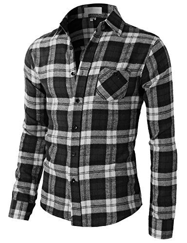 b1801a4633fbb H2H Mens Various Styles Slim Fit Flannel Button-down Shirts With Chest  Pocket