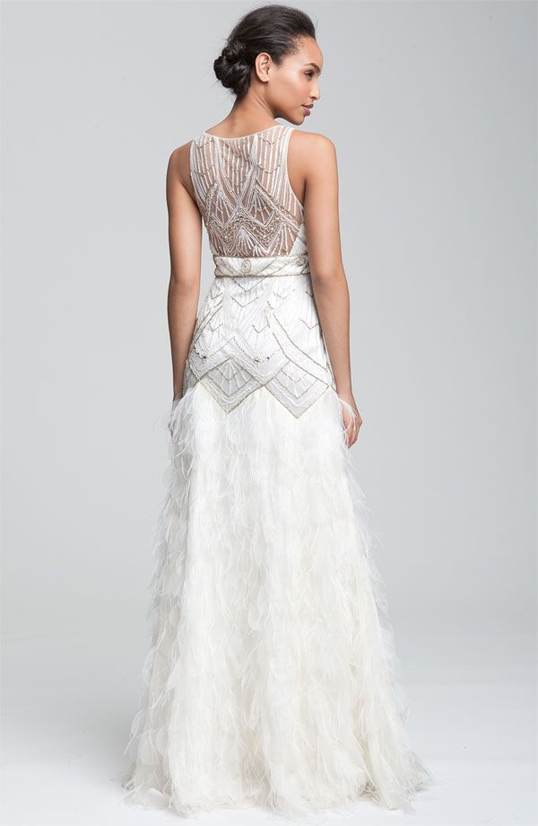 Sue Wong Feather Beaded Gown Nordstrom Deco Wedding Dress Wedding Dress With Feathers Wedding Dresses Beaded