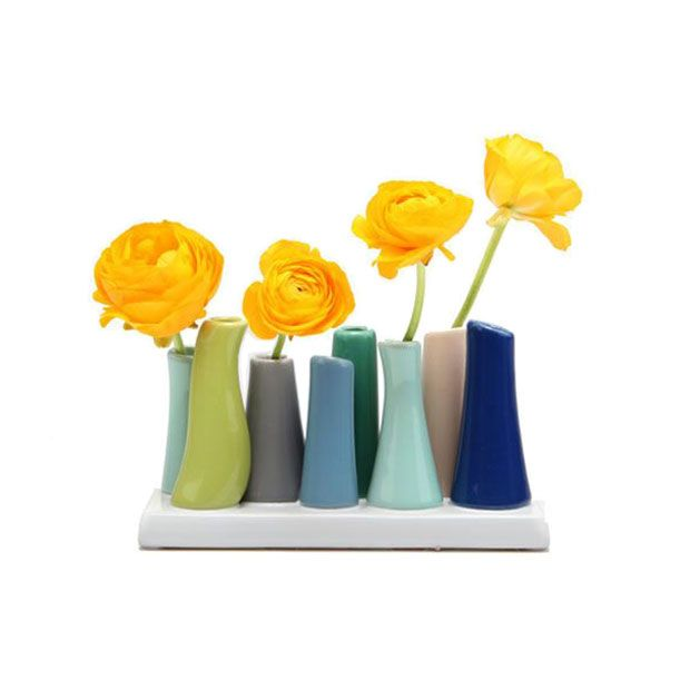 Cheerful Candy Colors Coat This Unique Set Of Bud Vases With A Yummy