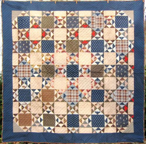 Antique, about 1880; indigo and brown