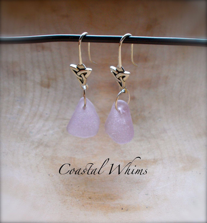 Purple Sea Glass Triquetra Hook Earrings, Sea Glass Hooks, Genuine Sea Glass, Sterling SIlver Hooks, Dangle Hook Earrings, Celtic Inspired by CoastalWhims on Etsy