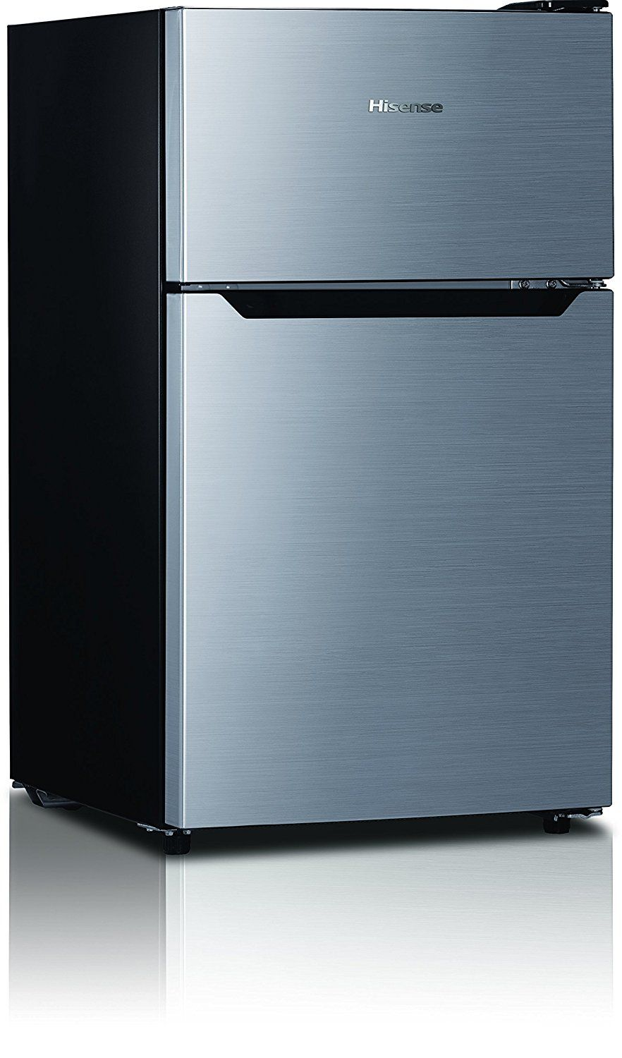 Hisense Rt33d6bae Compact Refrigerator With Double Door Top Mounted Freezer 3 3 Cu Ft Stainl Compact Refrigerator Refrigerator Compact Refrigerator Freezer