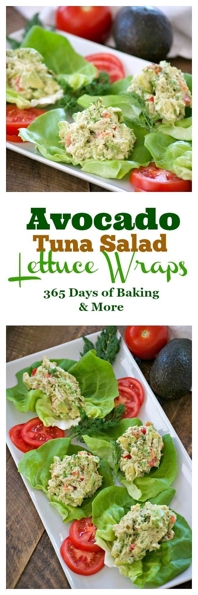 These Avocado Tuna Salad Lettuce Wraps with solid white tuna, avocado, fresh dil... -