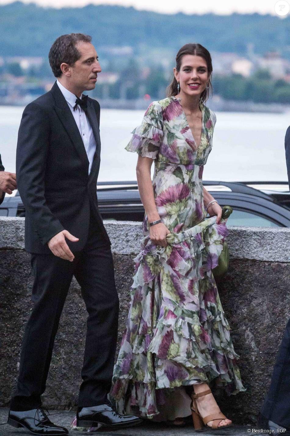 Charlotte Casiraghi et son compagnon Gad Elmaleh , Arrivées pour la soirée  de mariage de Pierre Casiraghi et Beatrice Borromeo au château Rocca Angera