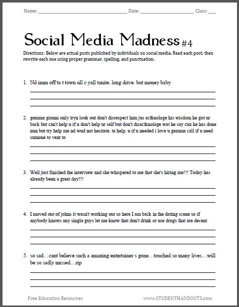 Social Media Madness Worksheet #4 - Fourth free printable ...