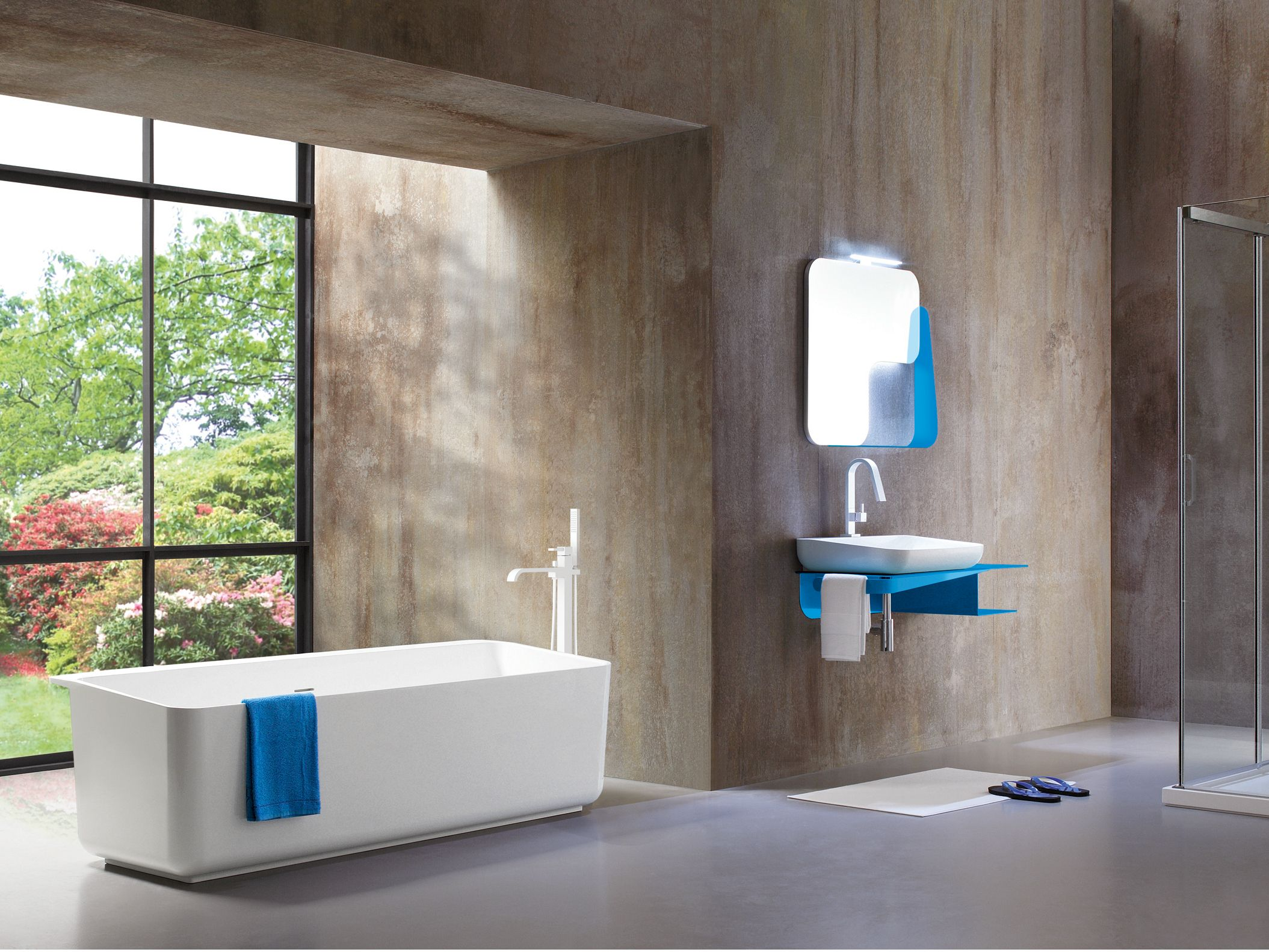 Freestanding rectangular Tecnoblu bathtub Tulip Collection by ARBLU