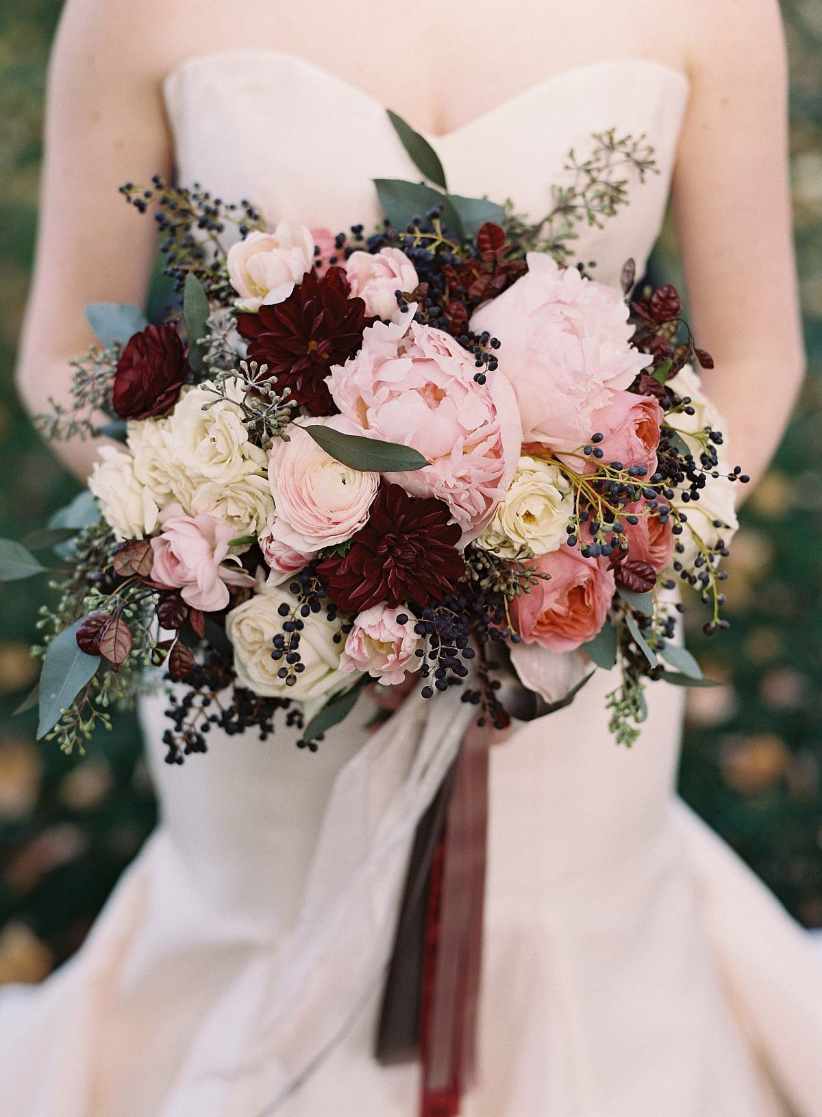 Bridal Bouquet Of Pink Peonies Ranunculus And Wine Colored