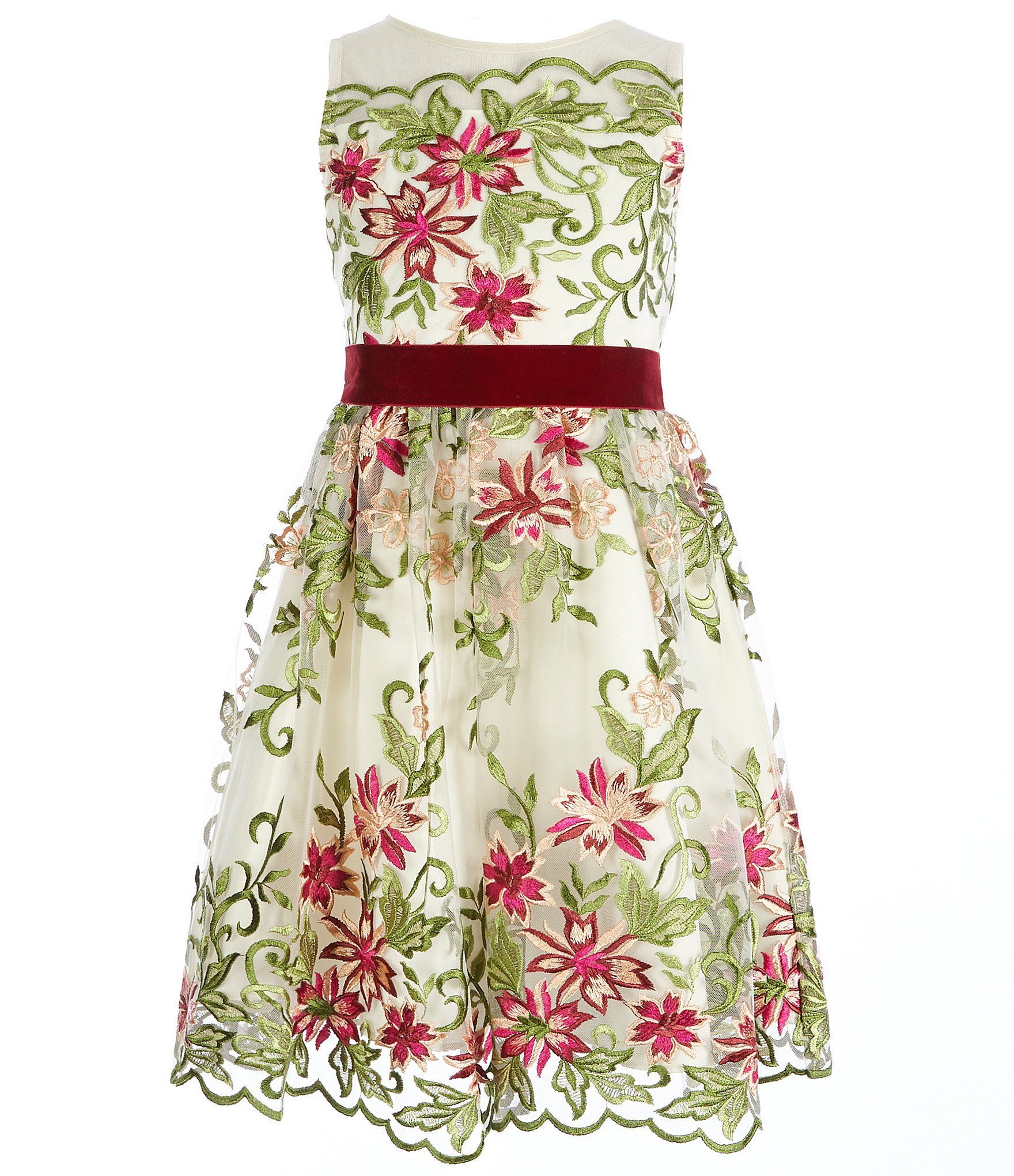 383d7eaa16a Rare Editions Big Girls 716 FloralEmbroidered Dress  Dillards