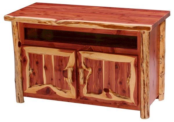 Aromatic Red Cedar TV Console Red Cedar Log Furniture