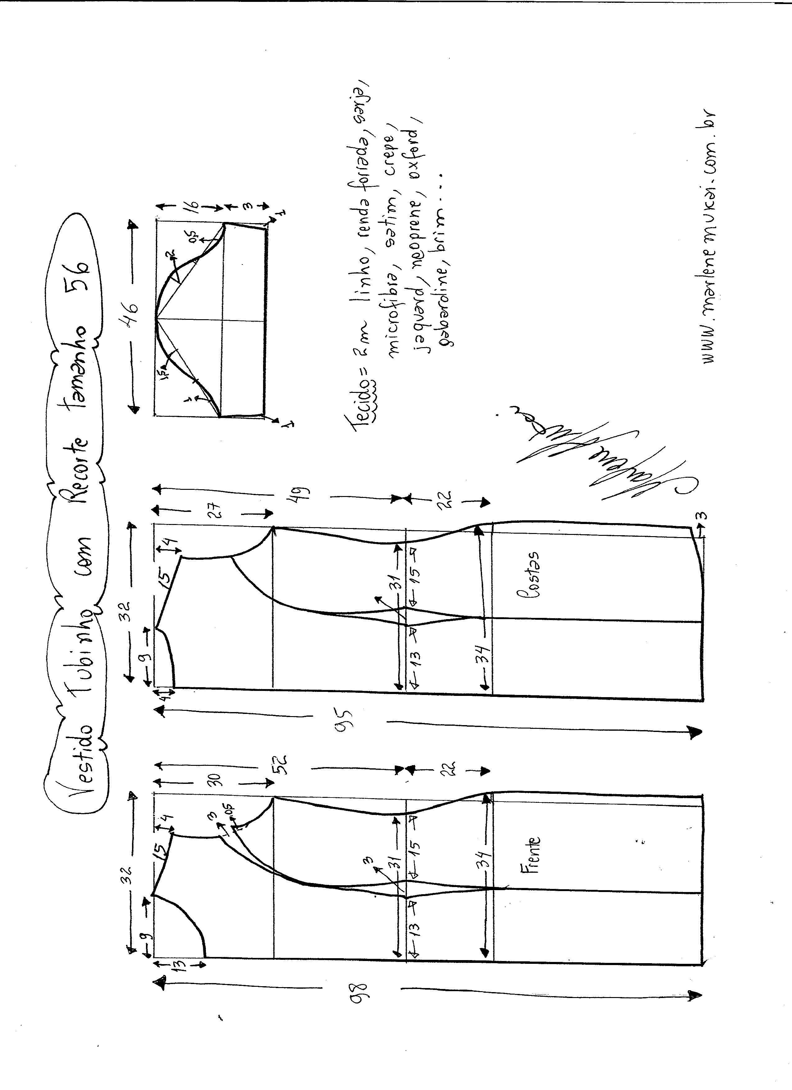20dd35f742 Esquema de modelagem de Vestido Tubinho tamanho 56.