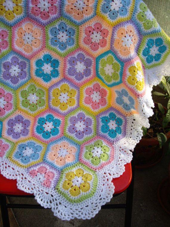 African flower Crochet Blanket Granny Square Afghan | Waschmaschinen ...