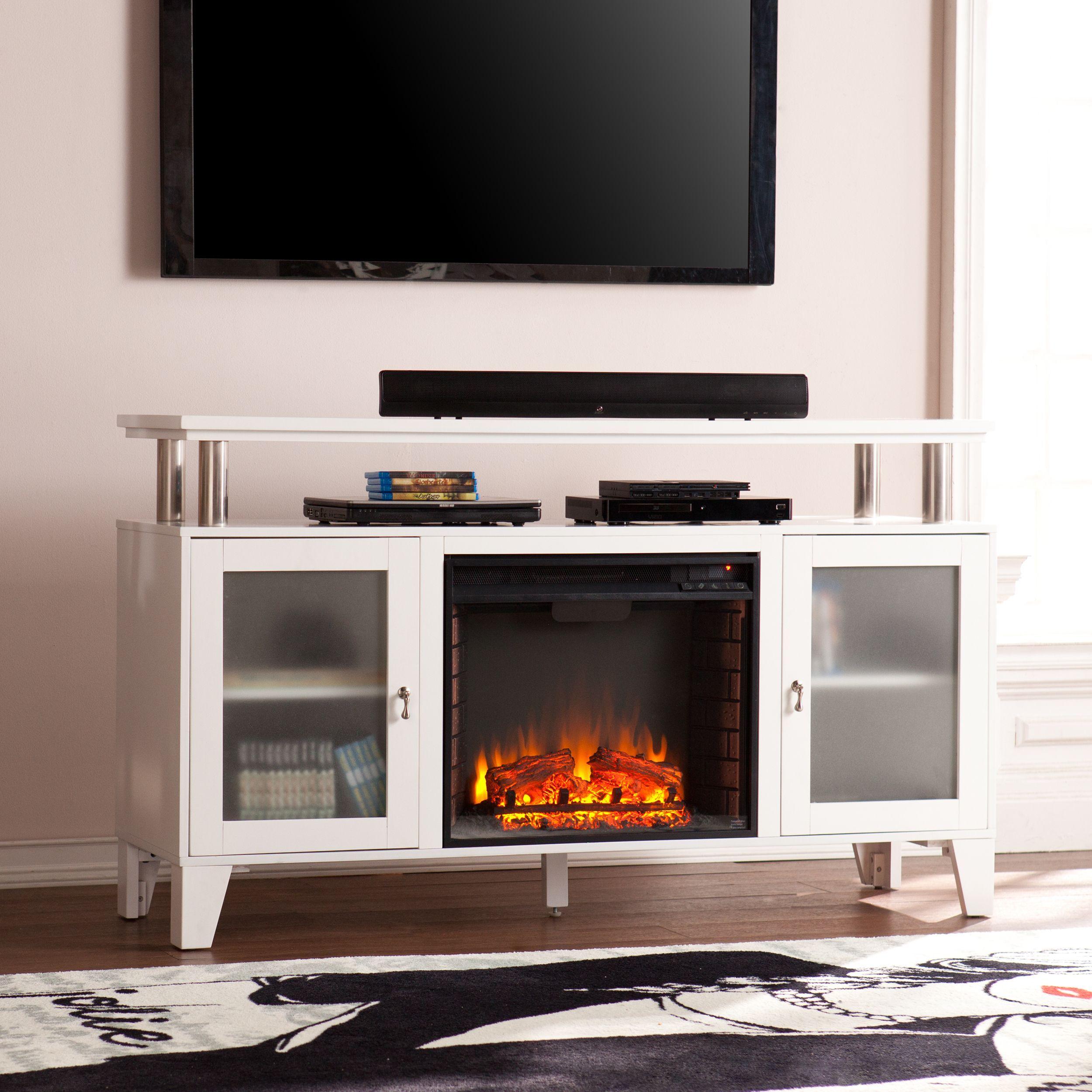 Bennett Infrared Electric Fireplace Tv Stand In Farmhouse Ivory