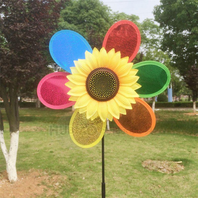 Cute Sunflower Windmill Garden Ornaments Multicolor Wind Spinner Whirligig Garden  Windmill Cloth For Garden Decor Kid