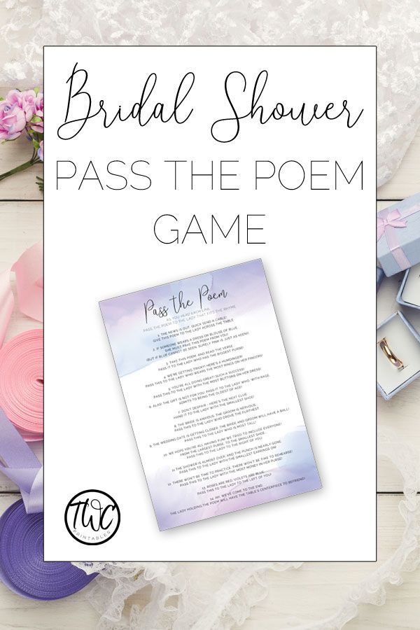 pass the poem bridal shower game in purple watercolor design