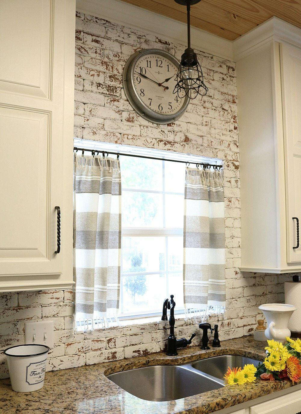 Dishtowel Curtains Rustic Farmhouse Kitchen Farmhouse Kitchen