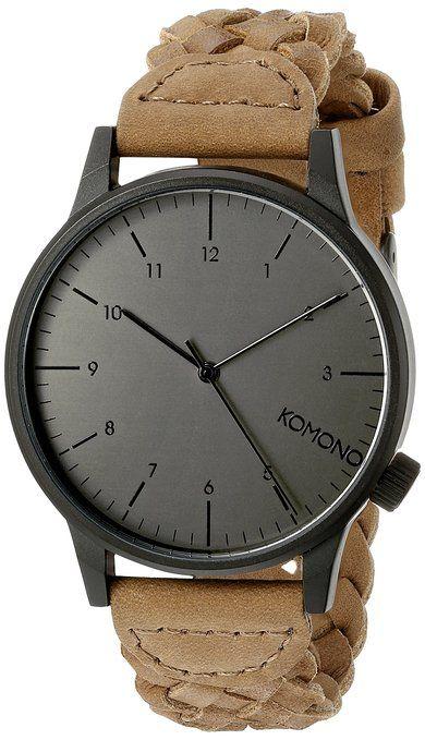 komono kom w2031 montre homme quartz analogique bracelet cuir noir montres. Black Bedroom Furniture Sets. Home Design Ideas