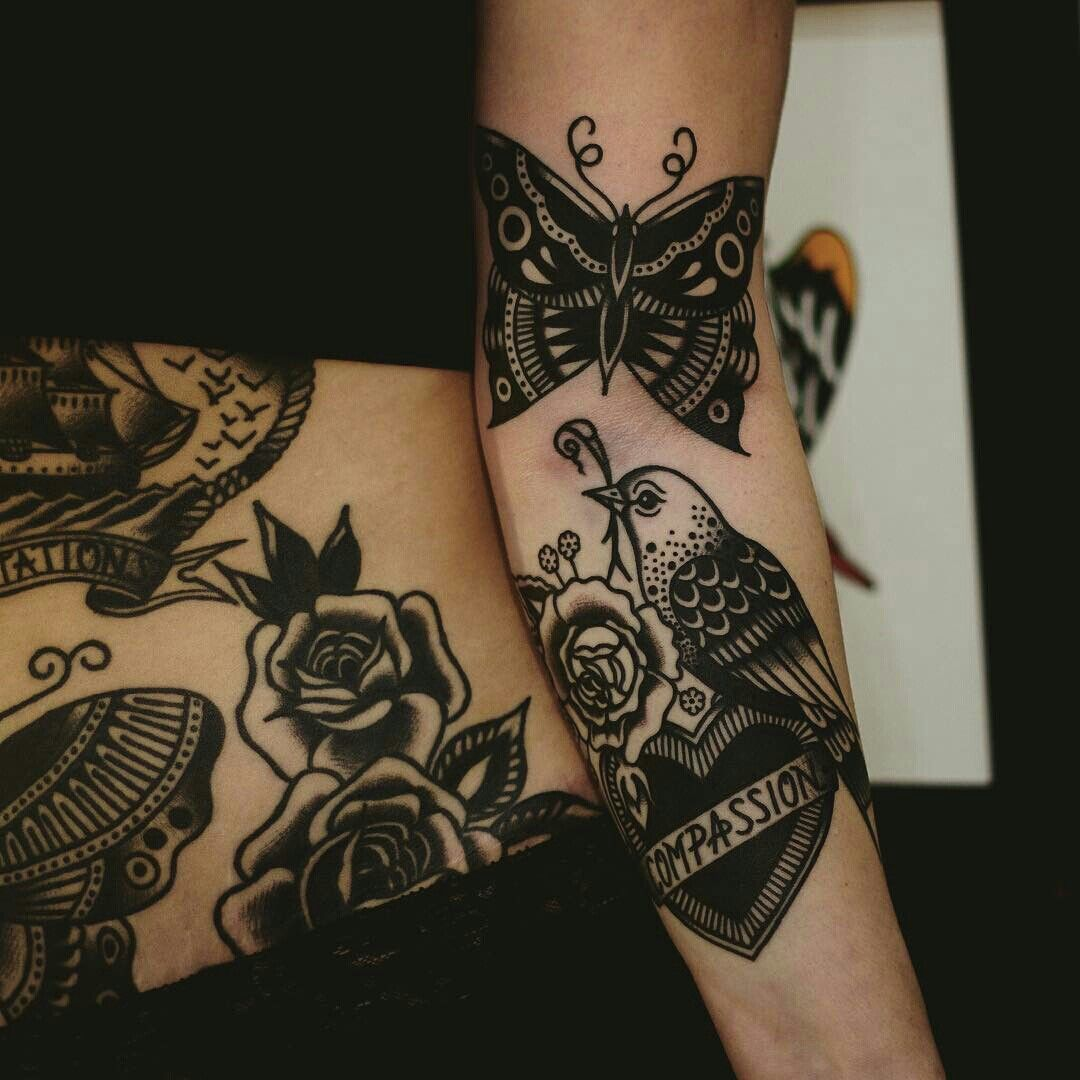 Image Result For Black Traditional Tattoo Traditional Black Tattoo Tattoos Black Tattoos