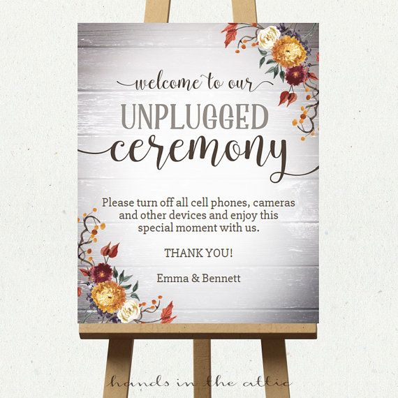 Unplugged Ceremony Sign Large Wedding Signs No Cameras Mobile Cell Phones Editable Wording Digital