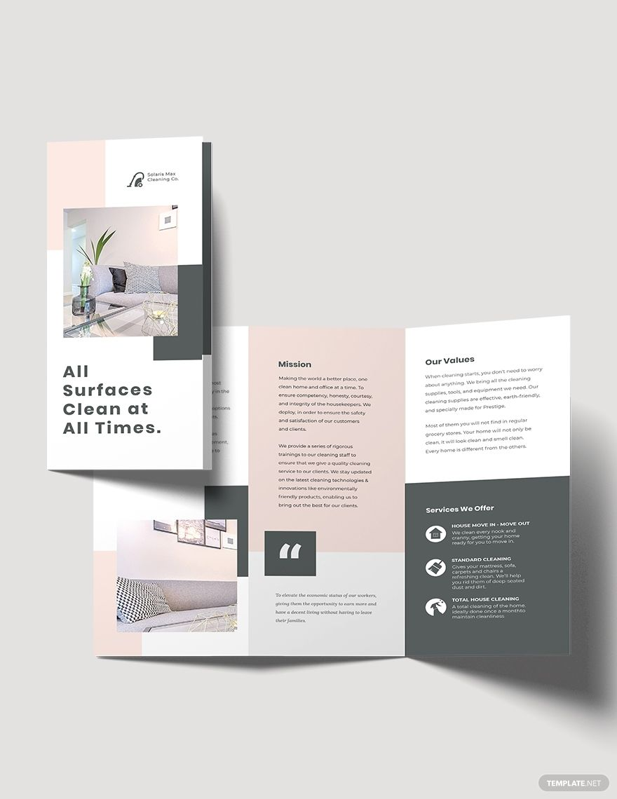 Cleaning Business Tri-Fold Brochure Template #AD, , #paid, #Tri, #Business, #Cleaning, #Template, #Brochure