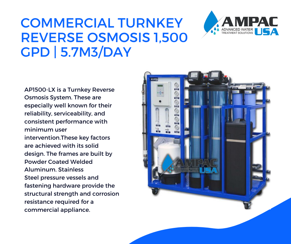 The Ampac Usa Fully Equipped Commercial Turnkey Reverse Osmosis 1500 Gpd 5 7m3 Day Ap1500 Lx Is In 2020 Reverse Osmosis System Reverse Osmosis Seawater Desalination