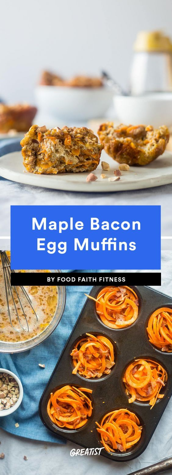 Maple Bacon Egg Muffins  You definitely haven't used sweet potato noodles like this before. Layering them up into a muffin tin is truly genius and makes for a great gluten-free muffin base. Especially with a smoky-sweet combo like hickory-smoked bacon, almond butter, eggs, and maple syrup.