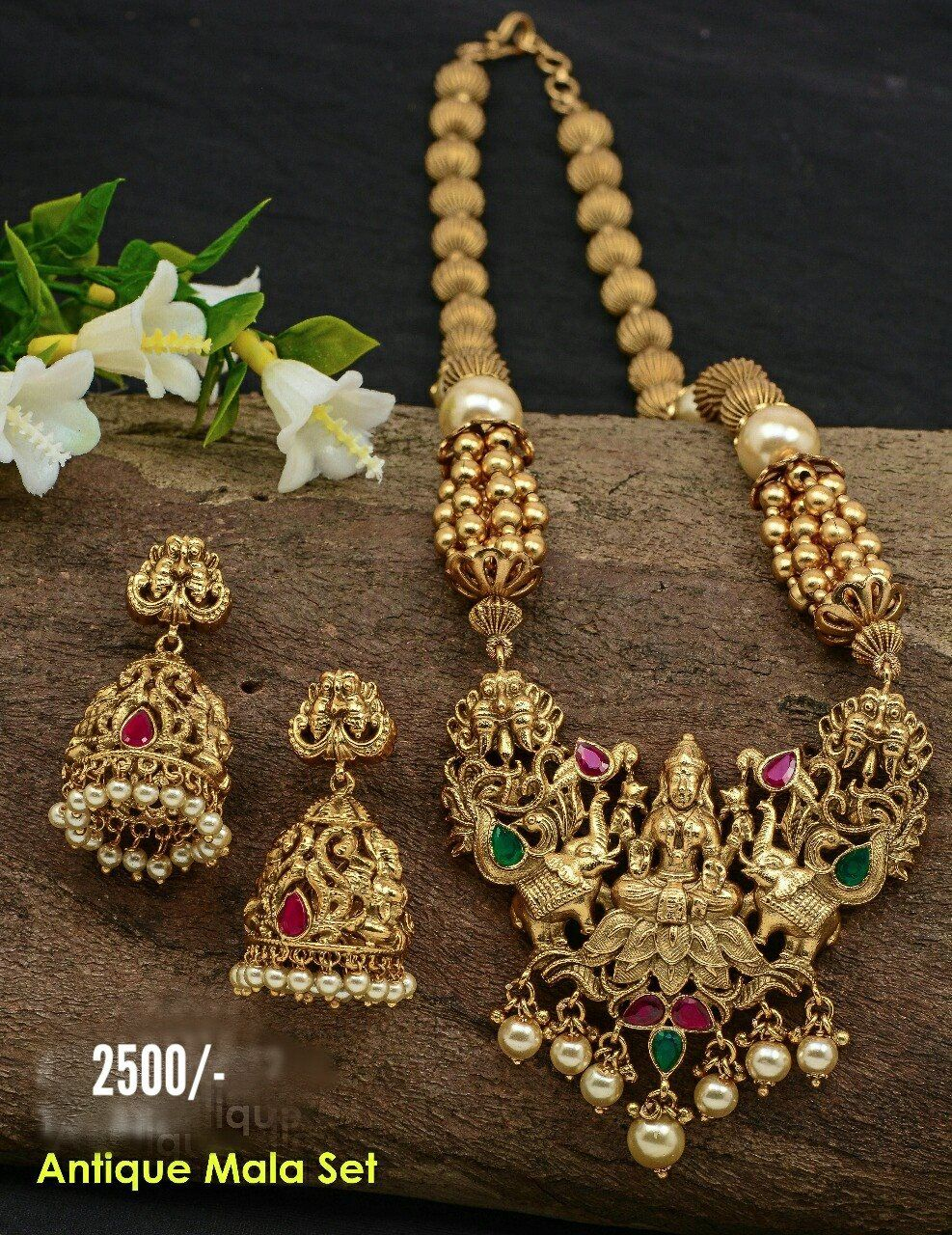 570707bc3 Beautiful matte gold finish gundla mala with pumpkin design. Long haaram  with lakshmi devi pendant. 23 November 2017