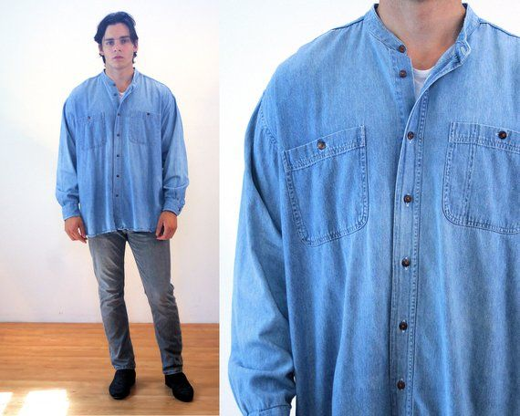 e0c1d5fb 90s Denim Shirt M, Oversized Vintage Turkish Men's Cotton Collarless Baggy  Enro Blue Jean Shirt, Med