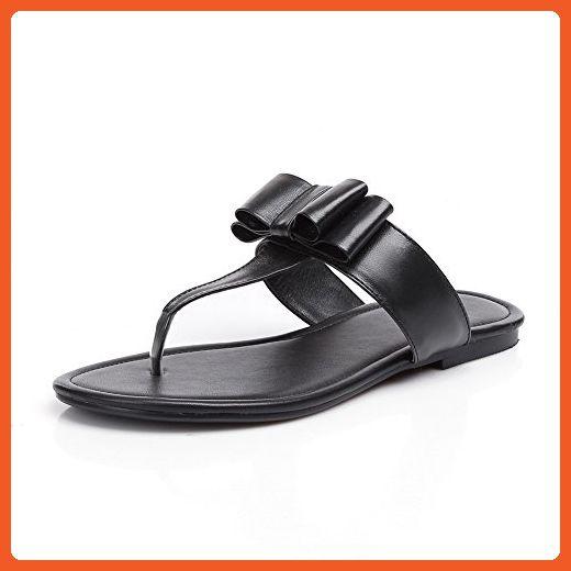 3e1c9b9040e5e AdeeSu Girls Bows Solid Black Leather Slippers 7 B(M) US - Slippers ...