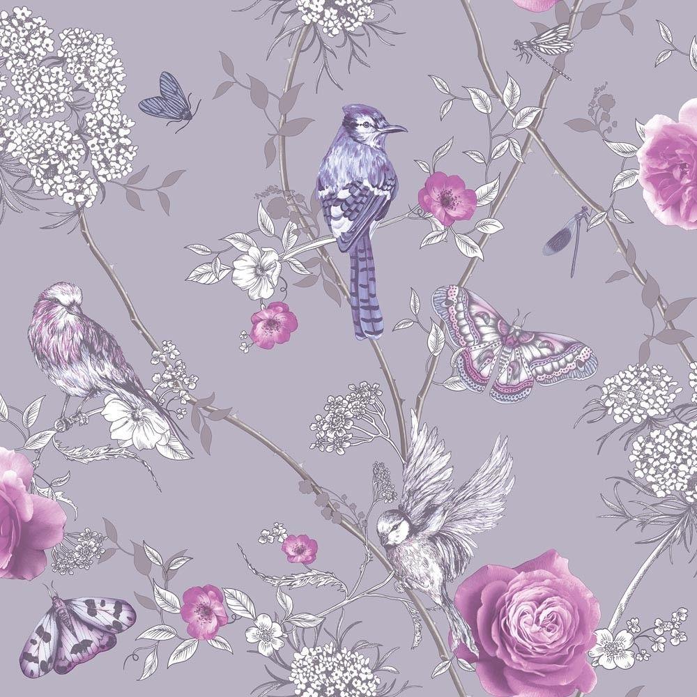 Tapete Vogel Floral Flieder Pink Glitzer Fantasia Arthouse Qm