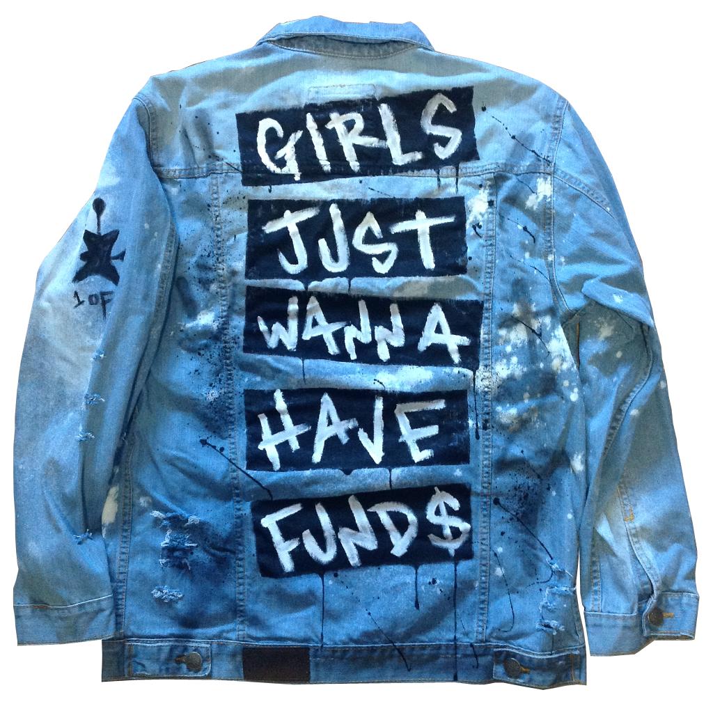 Custom Girls Just Wanna Have Funds Jean Jacket #jeanjacketoutfits