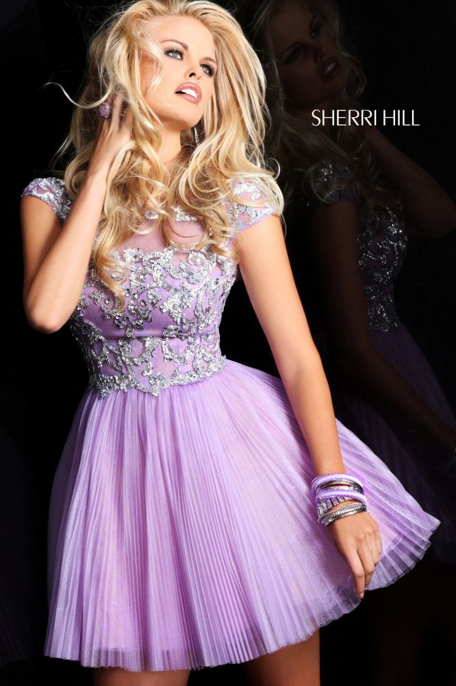 2013 Sherri Hill 21032 Lilac Silver Homecoming Dresses